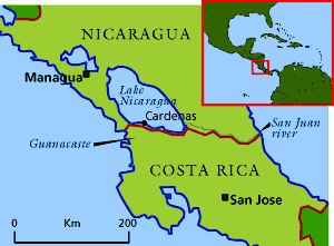 A map of the border between Nicaragua and Costa Rica that highlights the disputed San Juan river territory and the Costa Rican province of Guanacaste.
