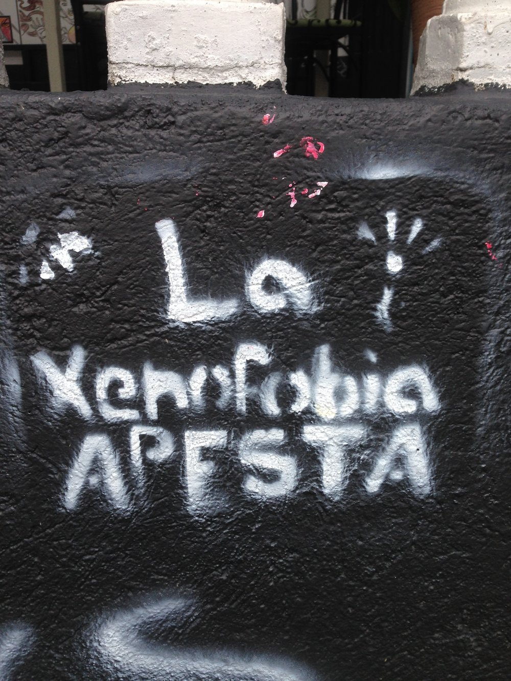 "Street art found near the University of Costa Rica campus in San Pedro, San José that reads ""xenophobia stinks."" (Photo: Torri Lonergan)"
