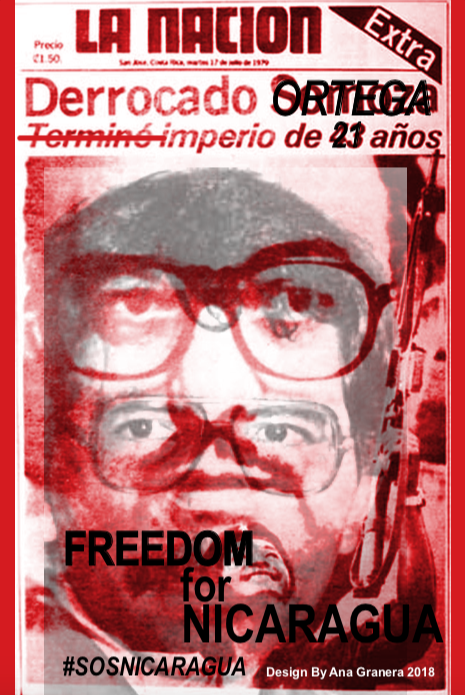 "Part of Ana Granera's  Afiches  is an updated version of a 1979 front page of  La Nación . The original headline reads ""Somoza overthrown - 43 year empire ends,"" while the edited version reads ""Ortega overthrown - 21 year empire."" Image source:    http://www.labdecosas.com/niccr/   ."