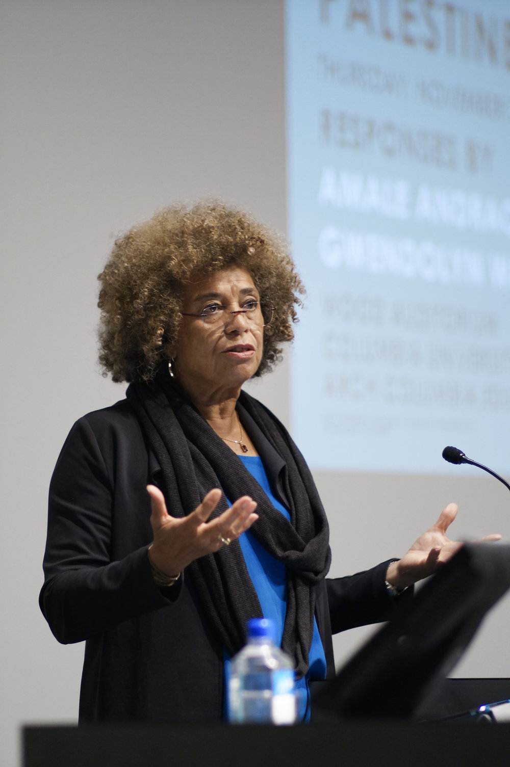 Dr. Angela Davis speaks at Columbia University in 2014. (Columbia GSAPP [CC BY 2.0 (https://creativecommons.org/licenses/by/2.0)])