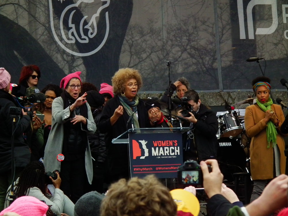 Davis speaks at the 2017 Women's March in Washington, DC. (By S Pakhrin from DC, USA - Women's March - Washington DC 2017, CC BY 2.0, https://commons.wikimedia.org/w/index.php?curid=55563197)