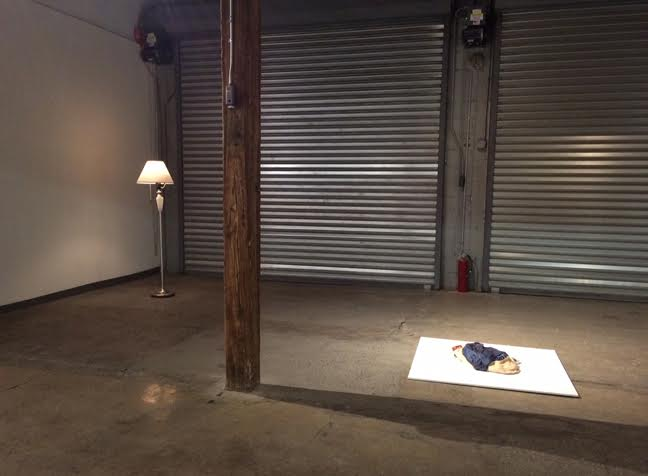 "Installation view, includes work by Rachel Higgins, ""Floor Lamp,"" 2013, Lamp, spliced together with an oscillating fan motor, To Scale, and Kevin Frances, ""Lucas's Clothes #3,"" 2014, Ceramic, pigment, acrylic varnish, 30x12x6 in"