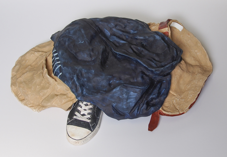 "Kevin Frances, ""Lucas's Clothes #3,"" 2014, Ceramic, pigment, acrylic varnish, 30x12x6 in"
