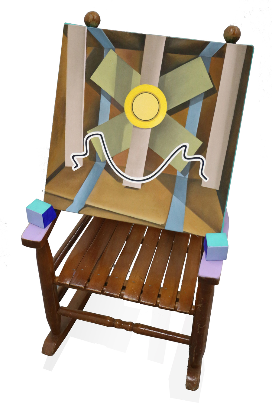 Smiley Face      26 x 14 x 14 in, Oil on canvas, Oil on wood, Found chair, 2017