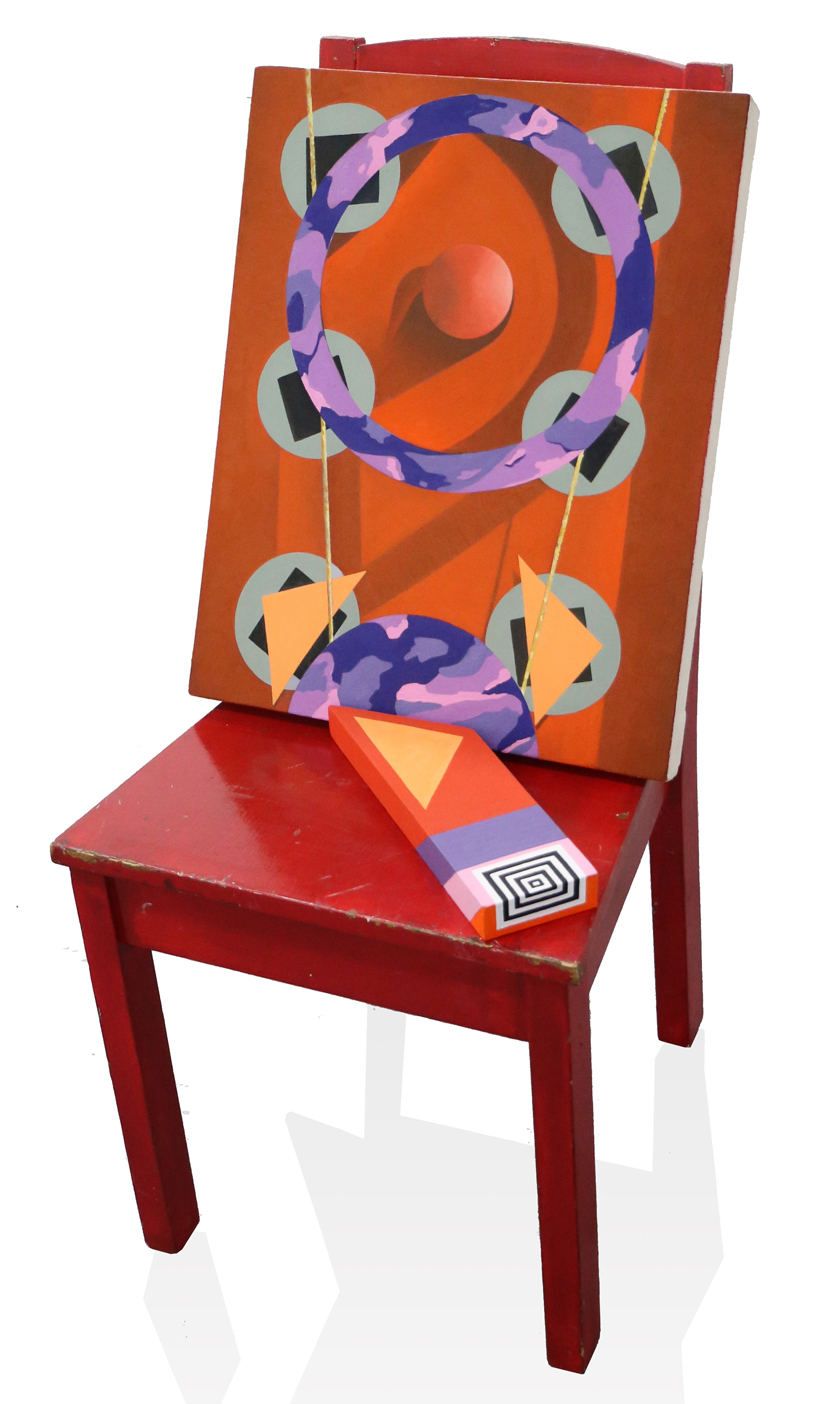 Clown Nose  38 x 17 x 17 in, Oil on canvas, Oil on wood, Found chair, 2017