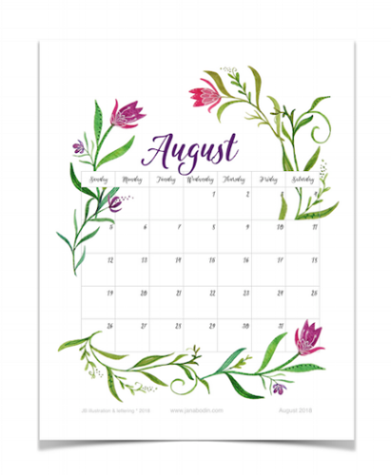 August 2018 printable