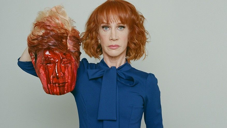 Kathy Griffin holding the REAL head of President Trump (this is a joke).