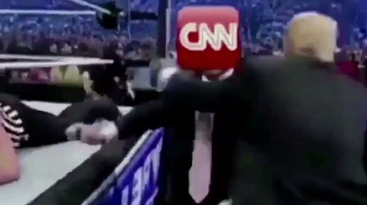Actual photo of Trump physically assaulting CNN.