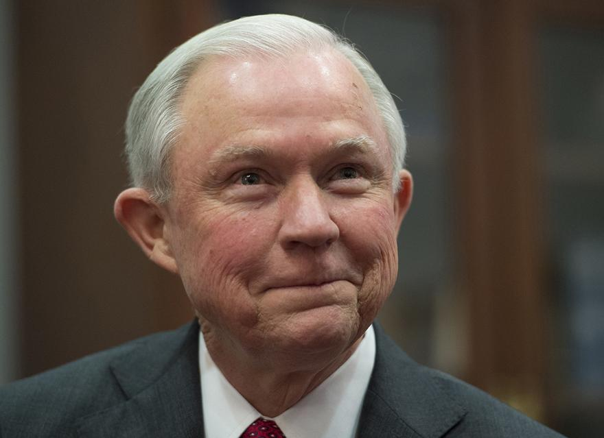Jeff Sessions, pictured here presumably conspiring with Satan on how to end free thought (or, more specifically: freedom to do with my own body what I will)