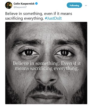 Nike's new  Just Do It  ad featuring former NFL quarterback Colin Kaepernick
