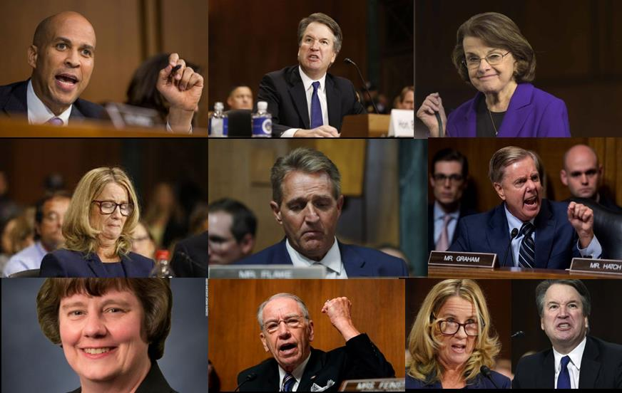 Players in the Kavanaugh hearings, from left to right, starting in the upper left corner: Coery Booker, Brett Kavanaugh, Diane Feinstein, Christine Blasey-Ford, Jeff FlakeLindsey Graham, Rachel Mitchell, Chuck Grassley