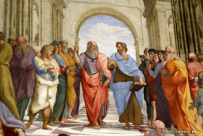 Raphael Sanzio's  School of Athens  painting, featuring Plato and Aristotle in the center. The two ancient Greek philosophers are considered the founders of Western Philosophy by many, and argued over many points.