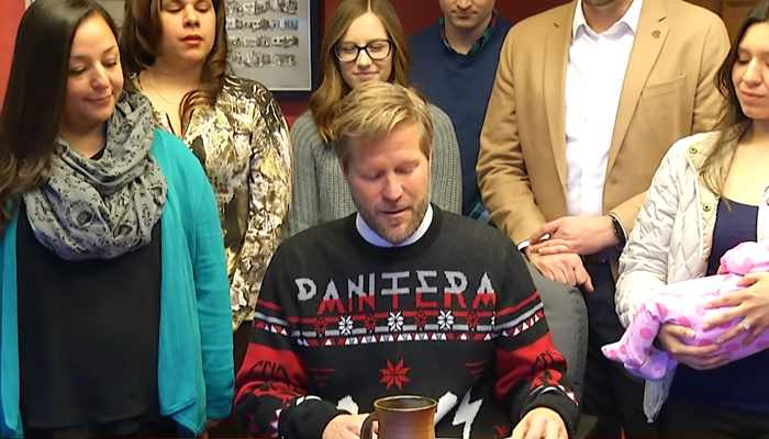 Albuquerque mayor Tim Keller at a local bill signing ceremony in his city last week