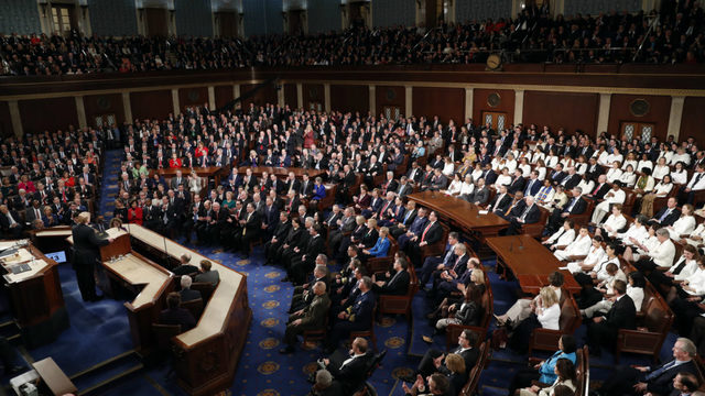 Inside the Capitol in Washington DC as President Trump gives his second State of the Union Adress
