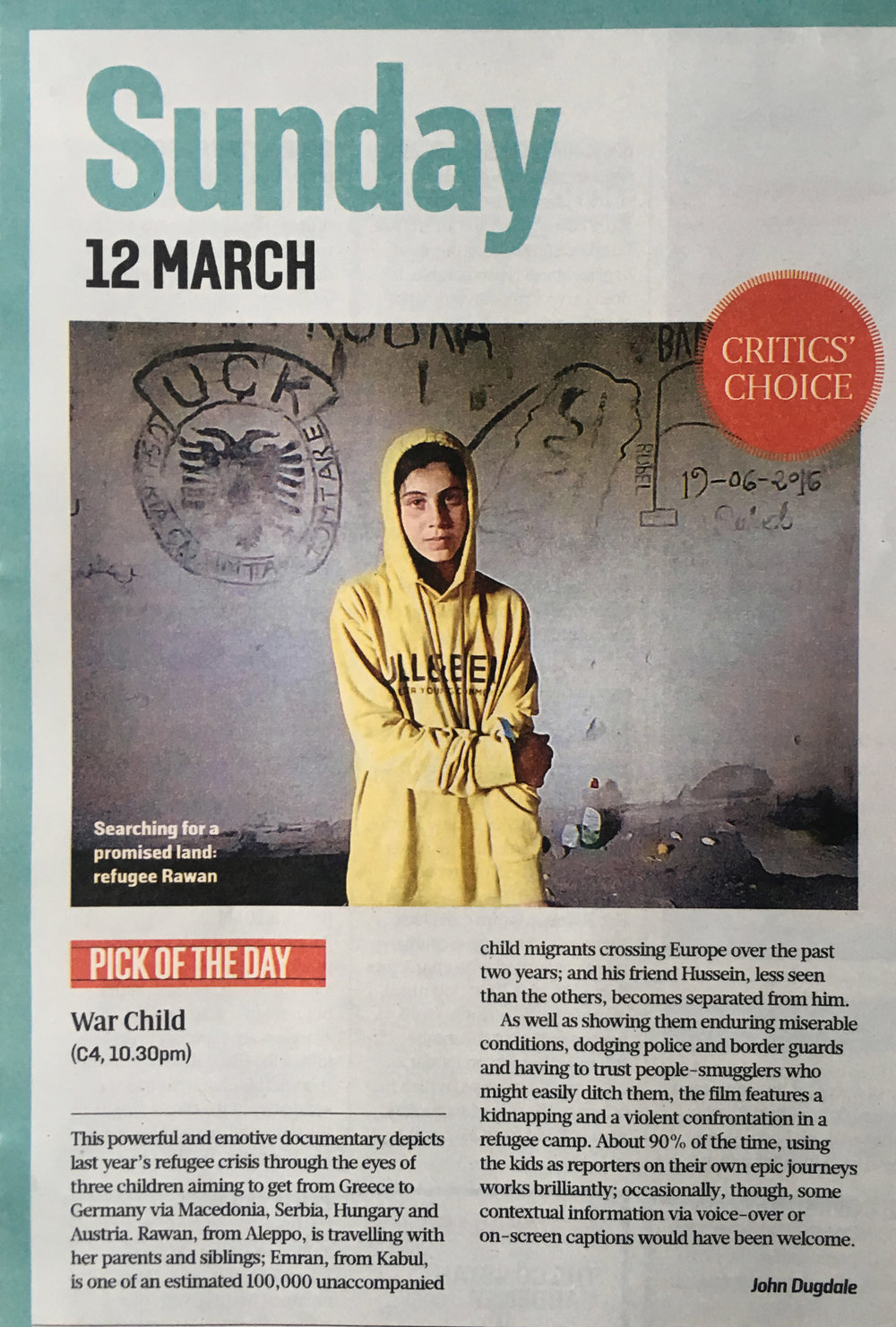 War Child - Sunday Times Critics Choice - 12.03.17