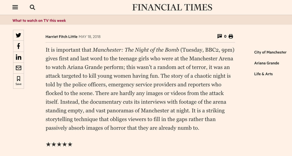 Financial Times - Press for 'Manchester: The night of the bomb'