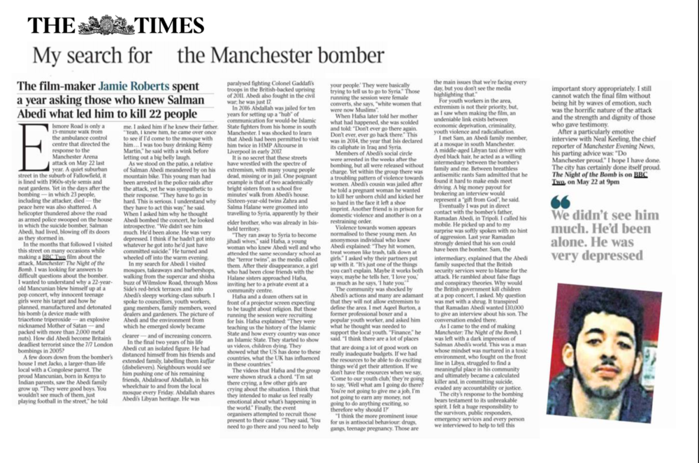 The Times - Authored piece about the making of 'Manchester: The night of the bomb'