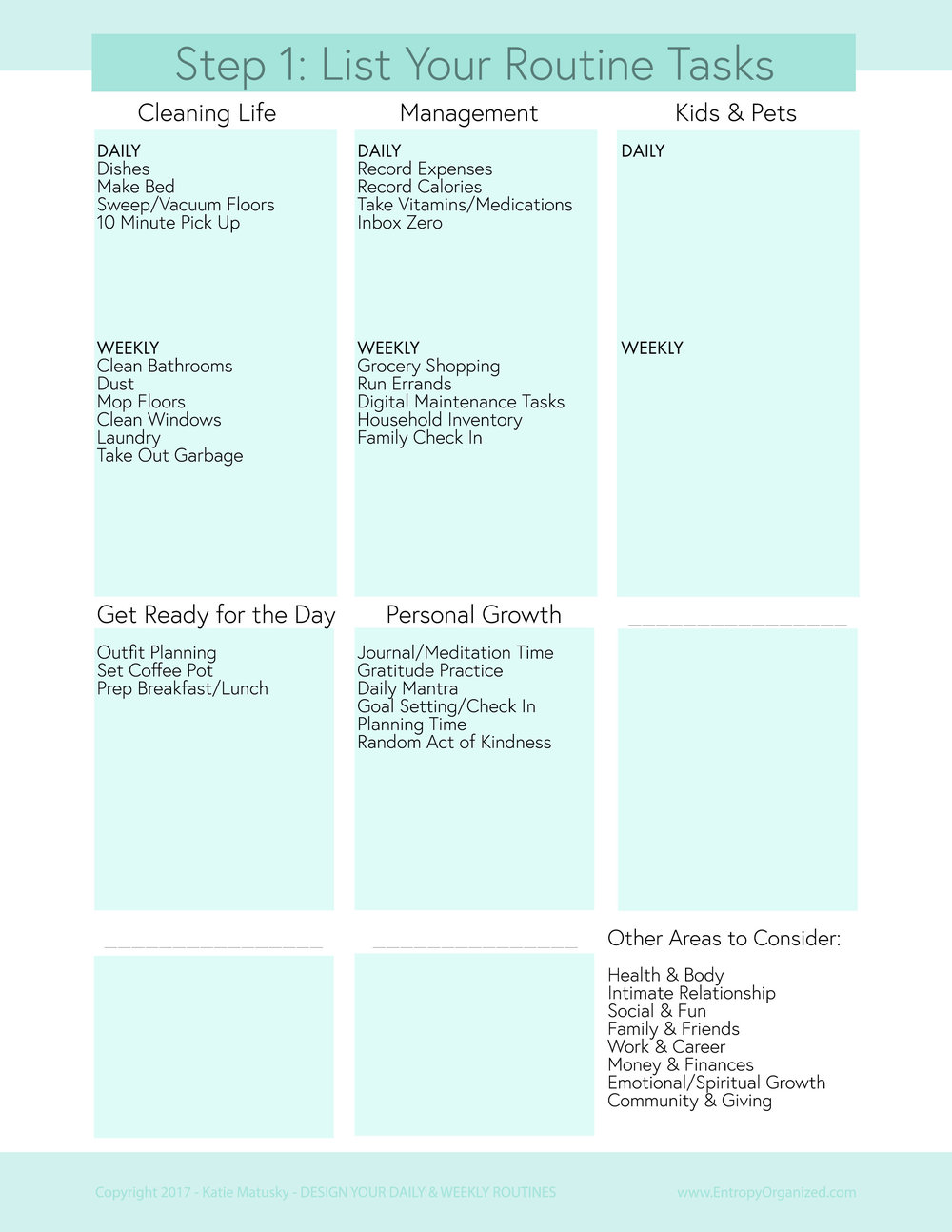 Create Your Routines Workbook