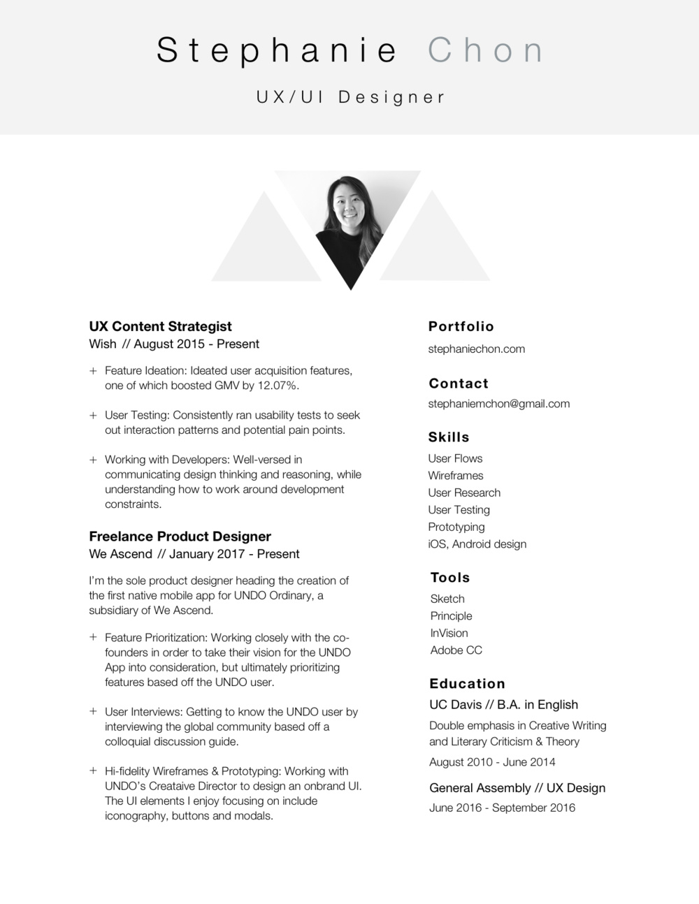 Ui Designer Resume senior ui developer resume samples Resume U2014 Stephanie Chon Uxui Designer Ui Designer Resume