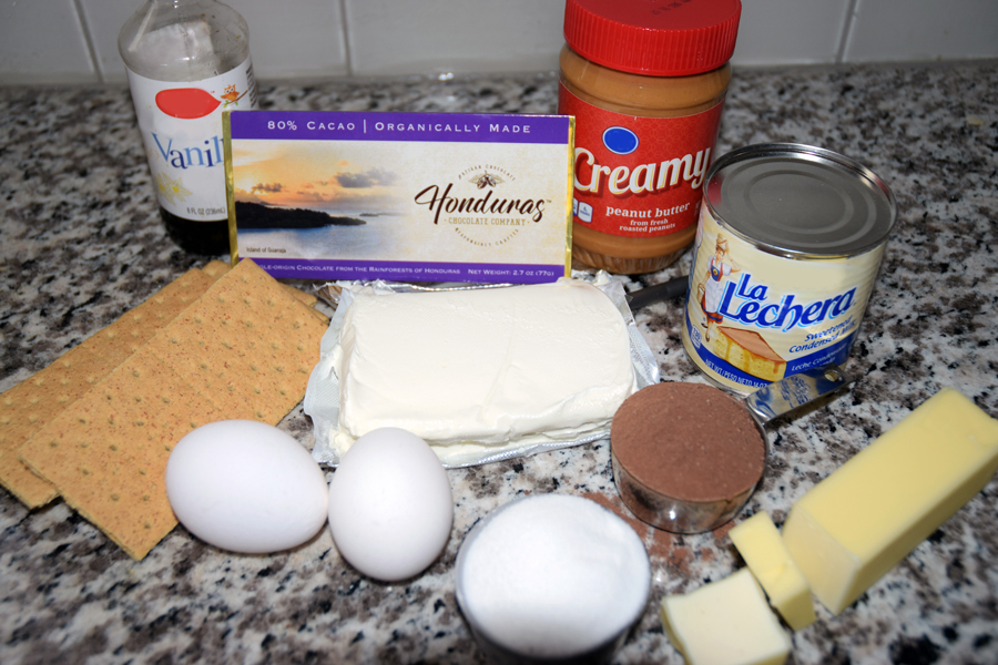 Ingredients for Chocolate Peanut Butter Cheesecake