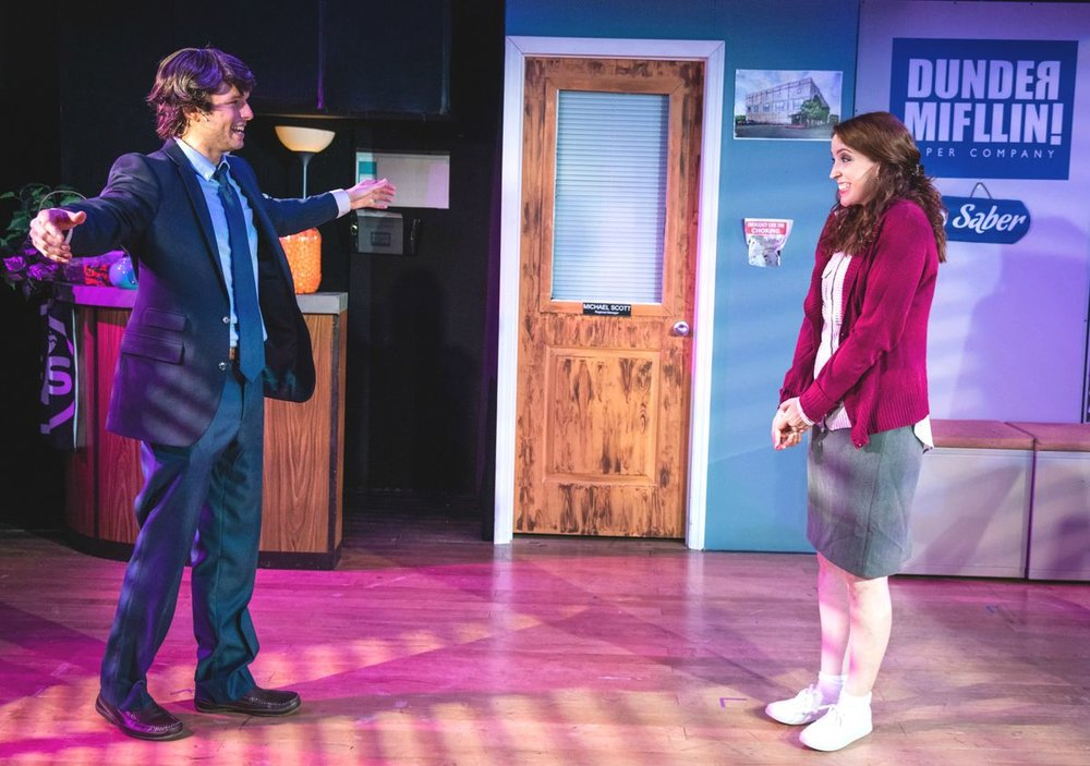 """Tom McGovern absolutely embodied Jim to a ""T"". Not only was his delivery perfect, - but his mannerisms were spot on. His chemistry with another standout, Taylor Coriell (Pam, Erin) was the heart of the show.""-The Pop Break"