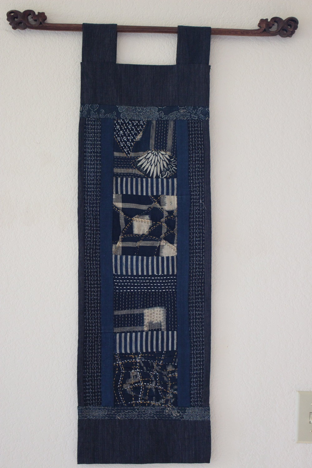 Aizome Kasuri and Katazome with Sashiko Wall Hanging -