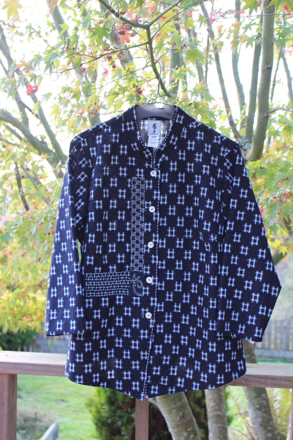 Mao Collar Blouse - Vintage cotton kasuri with sashiko stitch