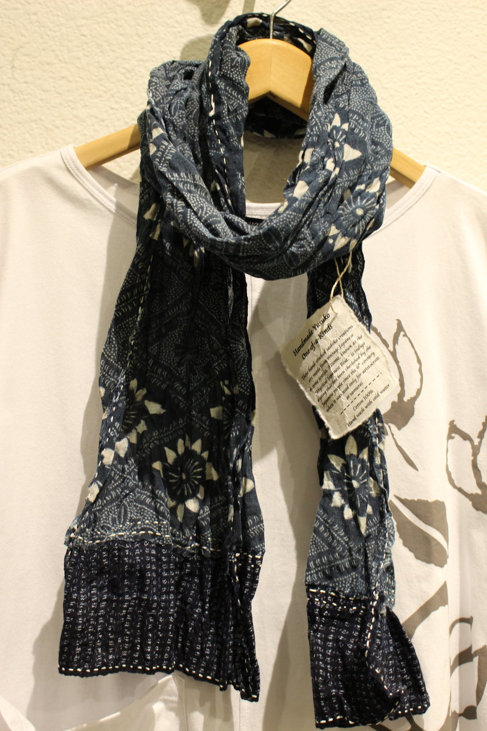 Aizome Cotton Scarf - Vintage aizome (indigo) cotton; katazome and kasuri with sashiko stitch