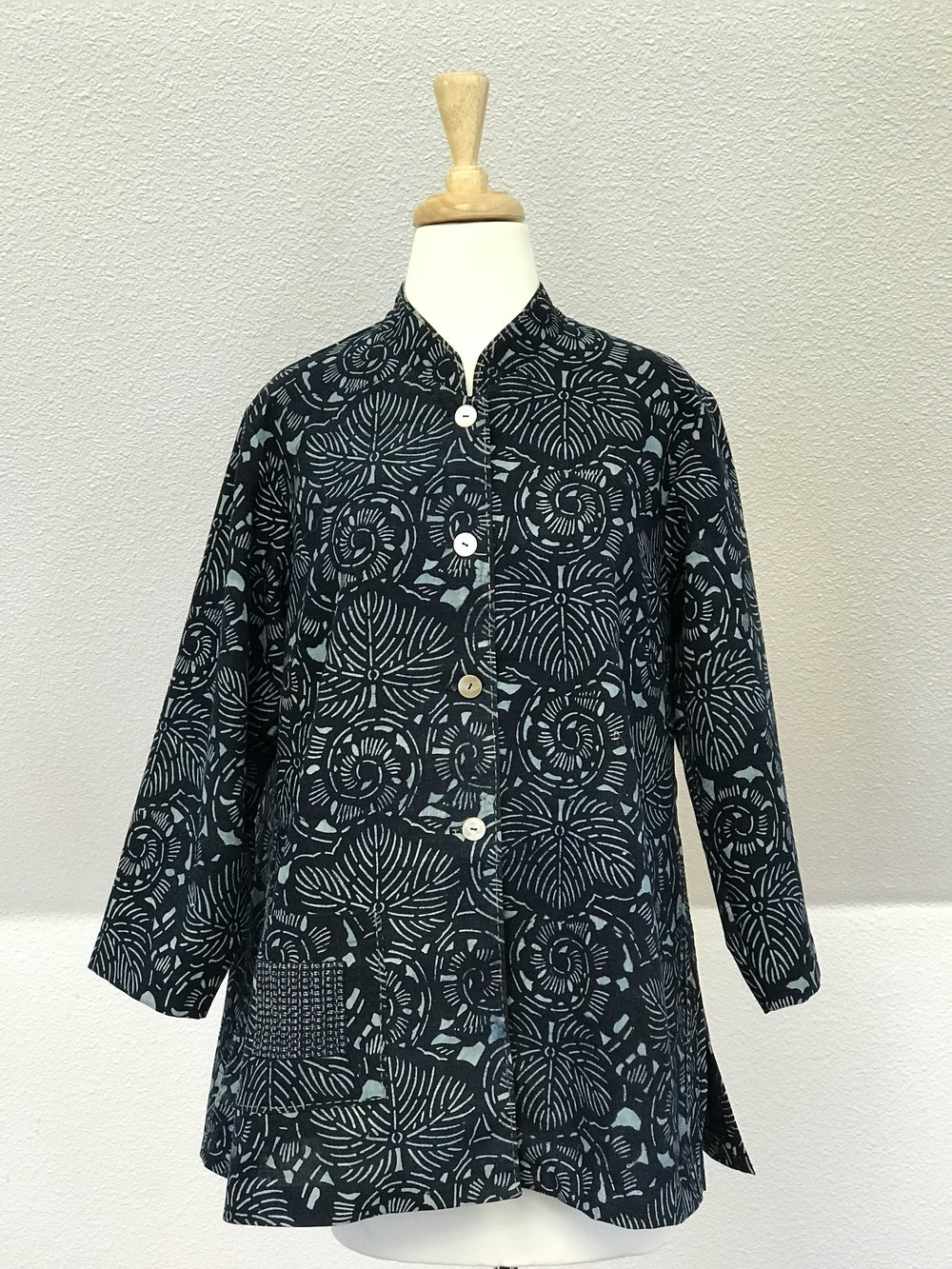 Mao Collar Blouse - Vintage  Aizome Katazome   with Sashiko stitches