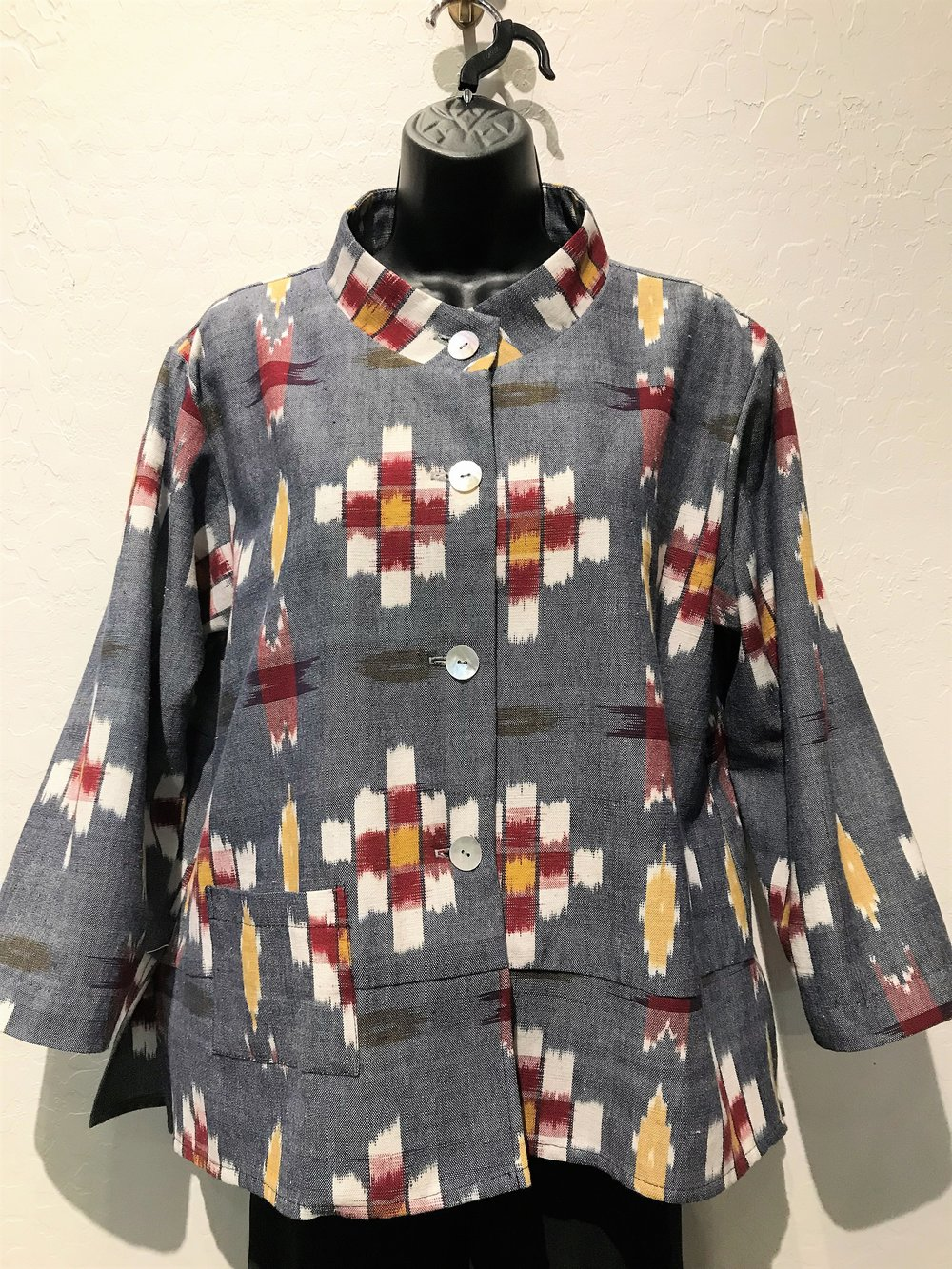Stand Collar Jacket - Kasuri Textile