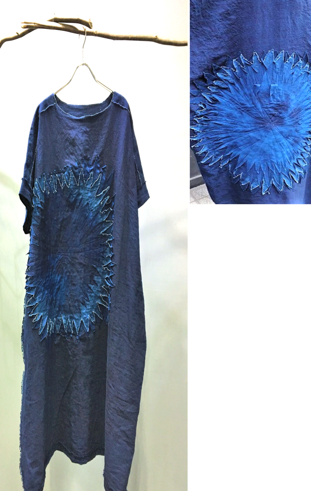 Natural Indigo Dye Linen Dress - Hand dye with Aizome