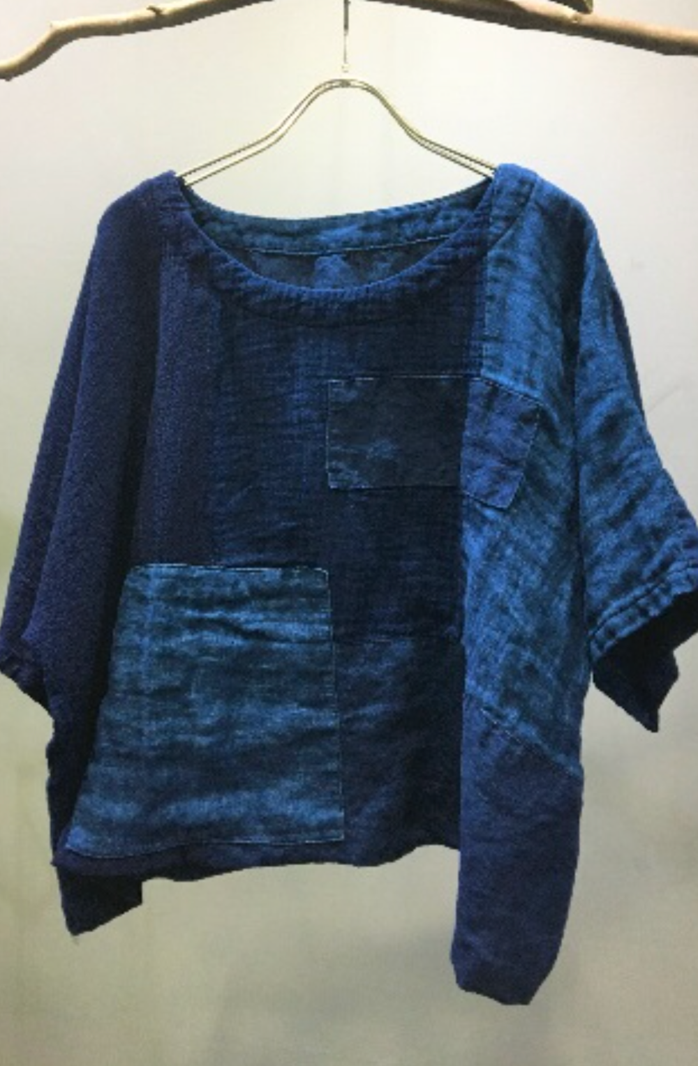 Natural Indigo Dye Blouse - Hand Dye with Aizome