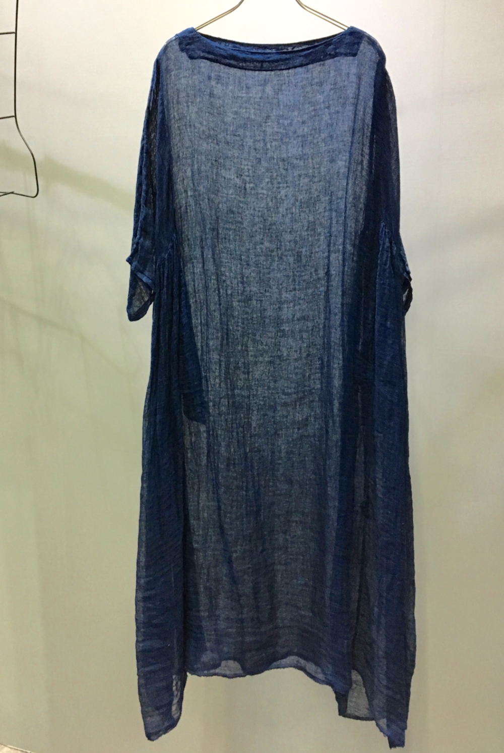Natural Indigo Dye Linen Sheer Dress - Hand Dye with Aizome
