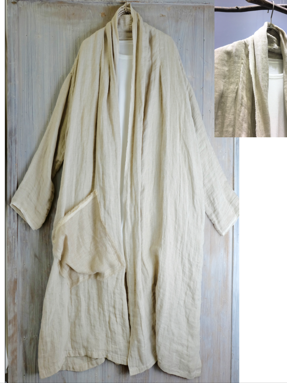 Linen Showl Coat - Linen 100%