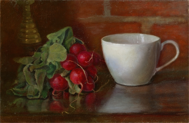 White Cup with Radishes