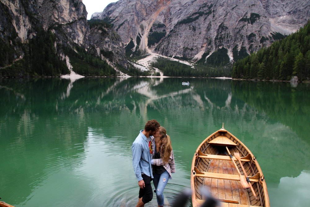 Hanging out infront of the much photographed Lake Braies boathouse