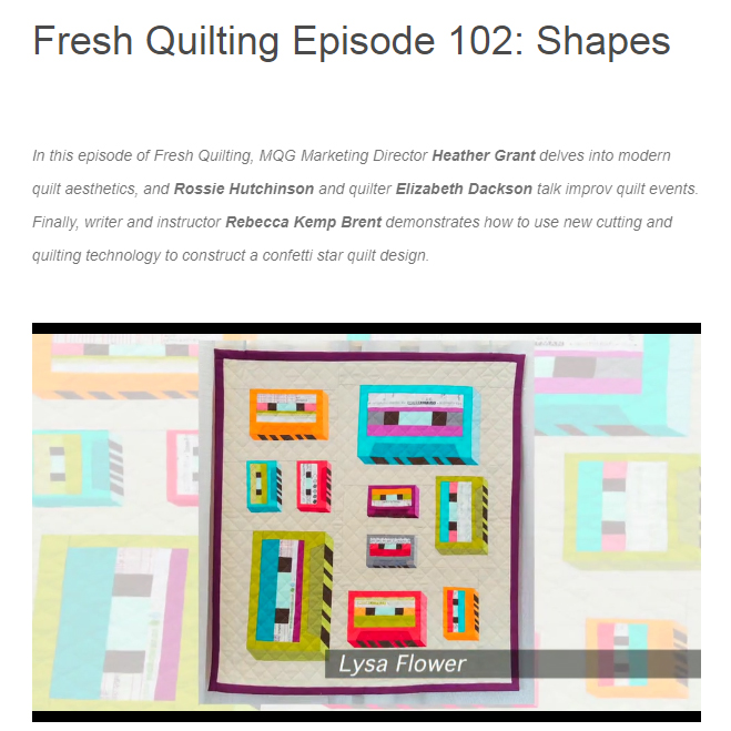 FRESH QUILTING EPISODE 102: SHAPES. Feb 23.2017