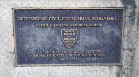 ASCE plaque at the Glen Jackson Bridge.