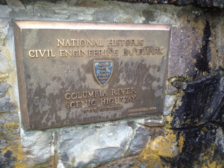 ASCE plaque at the Multnomah Falls Lodge