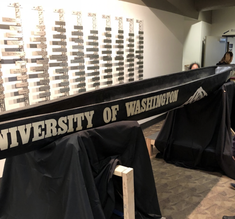 The University of Washington's winning entry in the concrete canoe competition
