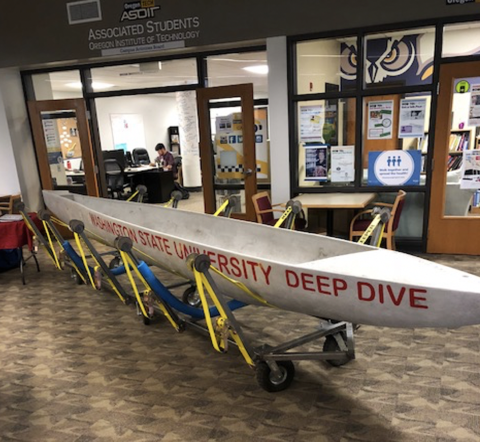 Washington State University's entry in the concrete canoe competition