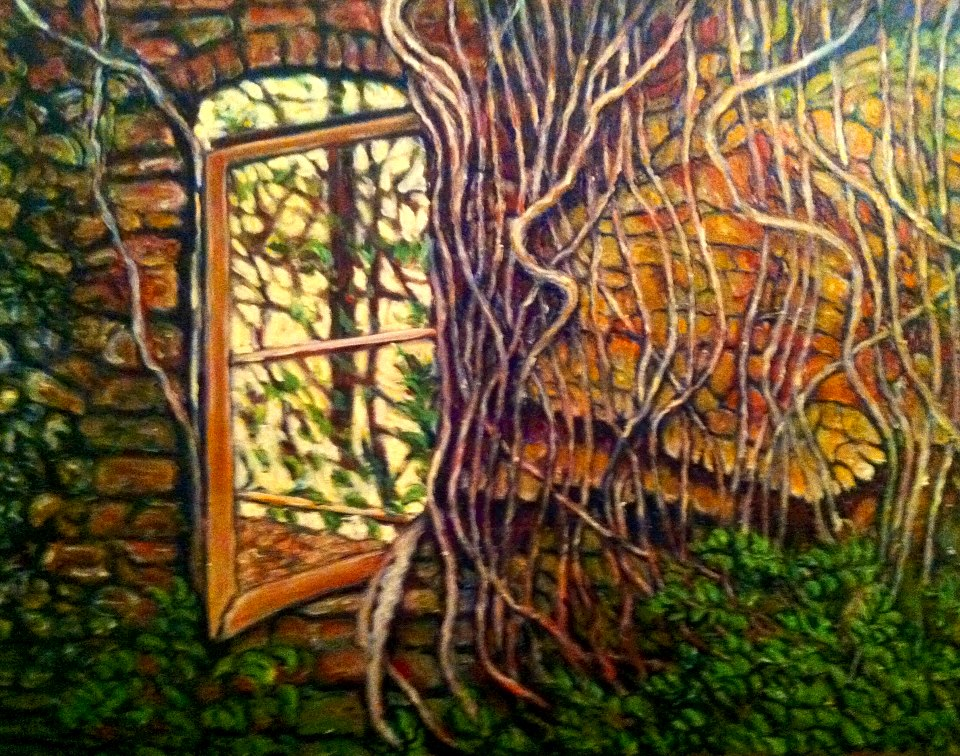 "Sold           2013      ""Fallen Window""       Oil on Canvas  30 x 40  Stem           Available in Giclee Print in various sizes"
