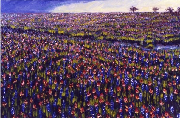 "Sold     ""  Texas Wild Flowers""    2002    24 x 36     Oil on canvas      Stem"