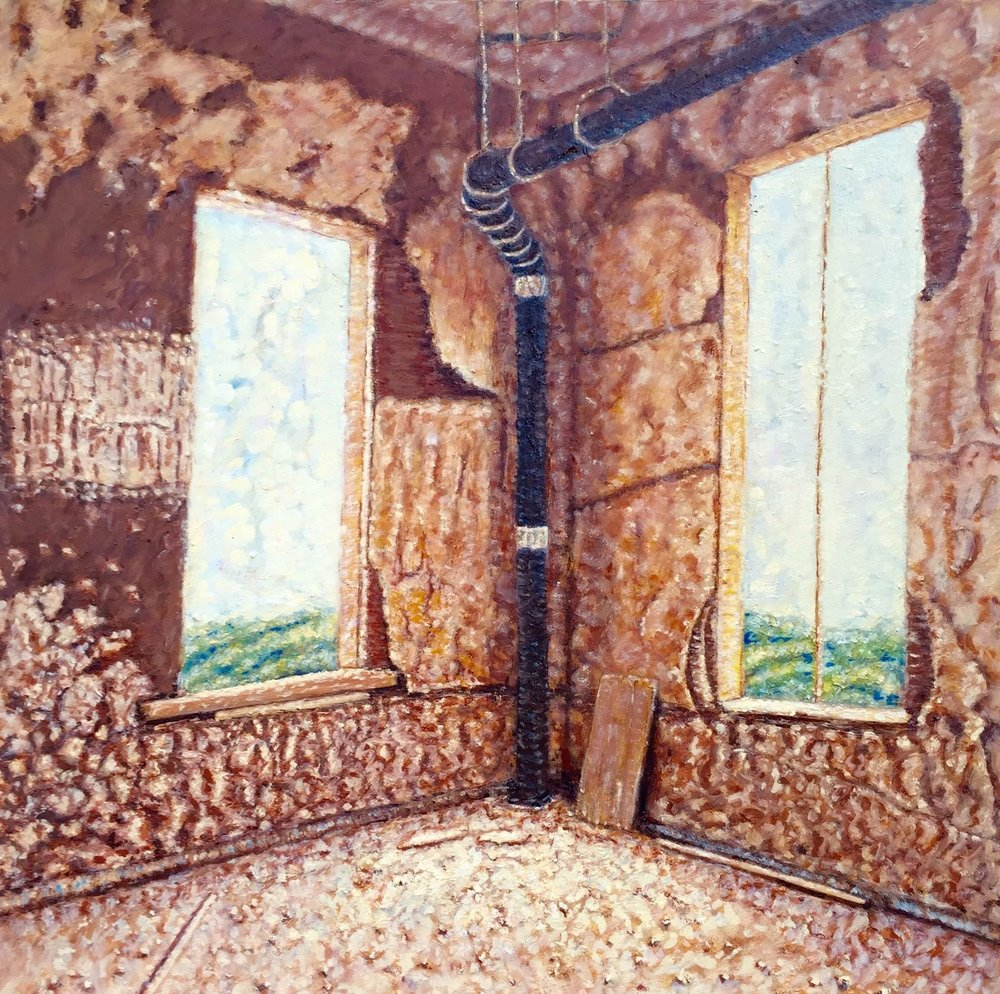"""Inside the Bell Tower 1"" oil on canvas. 30 x 30. Original 1500. Giclee Print 500.  2017"