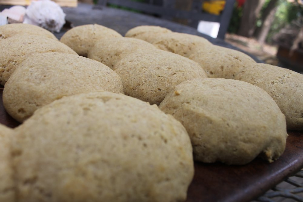 These biscuits were baked 10-12 minutes for fluffy texture all the way through. Bake longer for crunchy outside.