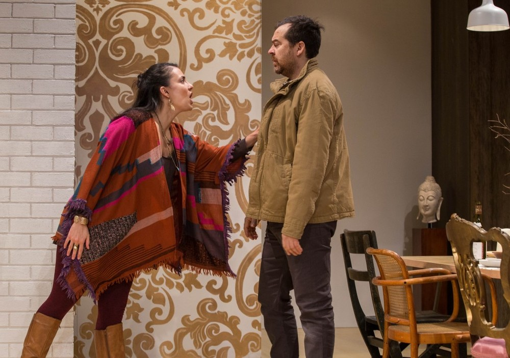 Nicola Correia-Damude and Paul Braunstein in Within the Glass at Tarragon Theatre. (Photo by Cylla von Tiedemann)