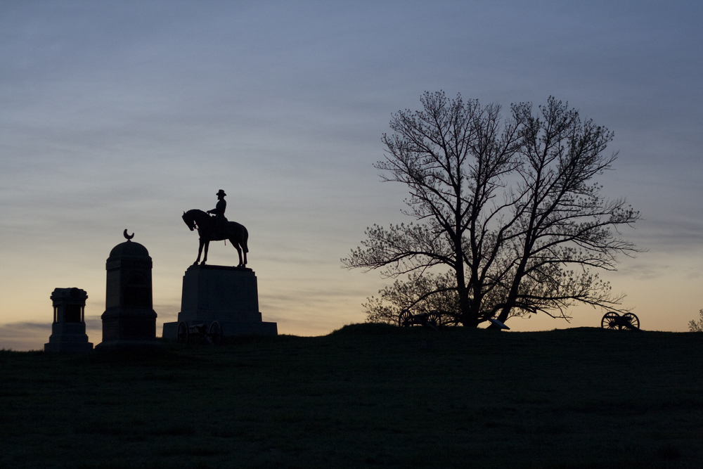 Predawn view of monuments on Cemetery Hill, in Gettysburg National Military Park.
