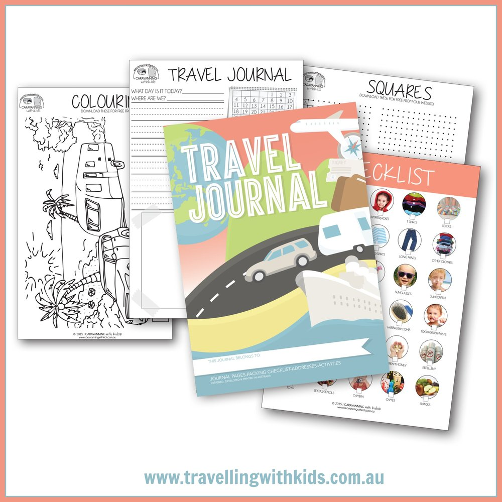 CARAVANNING WITH KIDS TRAVEL JOURNALS AND LOG BOOKS - These are fantastic for your kids to keep track of all your travel adventures....Great for 'show and tell' when they get back to school !! Great for long lasting memories!