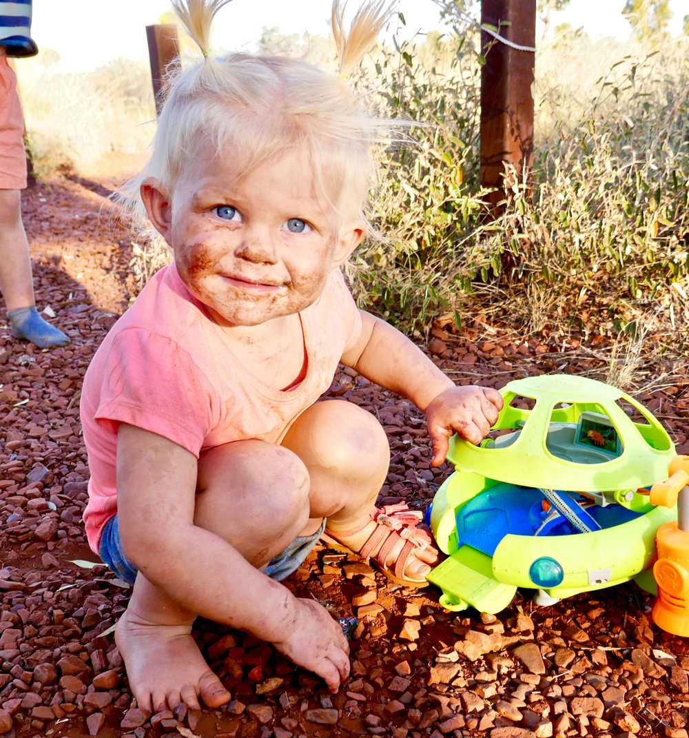 charli on her 2nd birthday, karijini national park, wa.