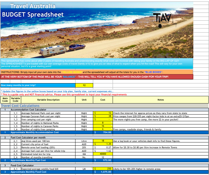 Do you want to know how much it will cost YOU to travel Australia? This spreadsheet will take into account your individual financial situation and give you your detailed monthly expenses! Grab it now!